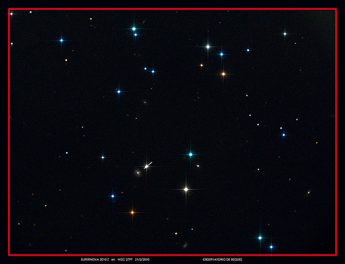 """Supernova 2010z by xn44 """"Discovered 3/2/2010 by Lick Observatory Supernova Search ... A Supernova is a stellar explosion. These occur at the end of a star's lifetime, when its nuclear fuel is exhausted..."""""""
