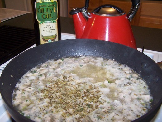 Once the stock comes to a boil, more ingredients can be added.