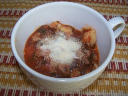 Garnish chicken sausage tortellini soup with Parmesan cheese for a little extra flavor.