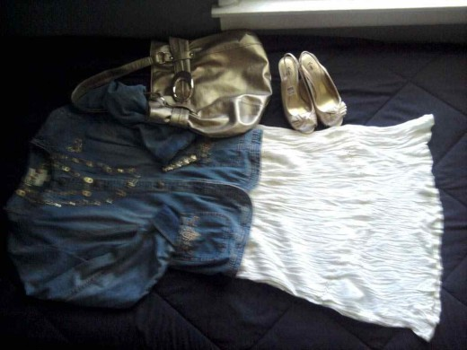 White sundress cruises into fall with gold accessories and a denim military jacket!