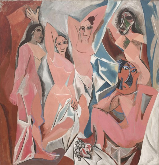 Les Demoiselles d'Avignon is an oil painting done by Pablo Picasso in 1907. It portrays 5 nude female prostitutes in Barcelona. Les Demoiselles d'Avignon had a strong influence in developing the concept of modern art