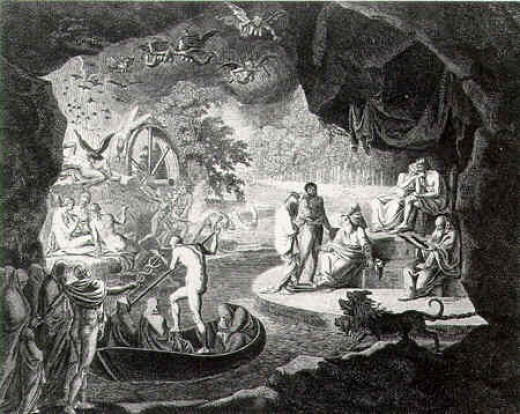 The Hell: the kingdom of Hades (Pluto), engraving.