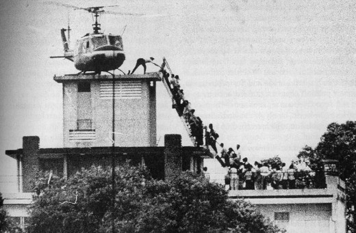 Photo that is consistently labeled wrong as the last helicopter to leave Saigon. This is an apartment complex, 12 hours before the last helicopter left Saigon from the US Embassy.