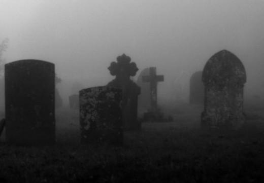 A spooky graveyard scene