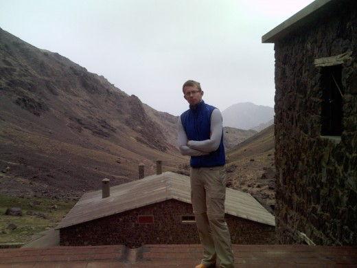Stood atop the roof of the Neltner Refuge, Toubkal NP