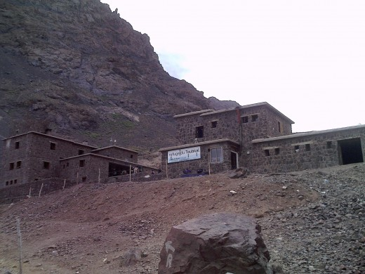 The two mountain refuges used as base camps prior to attempts on the Summit of Jebel Toubkal 4167 m