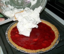 Add the meringue to the top of the pie