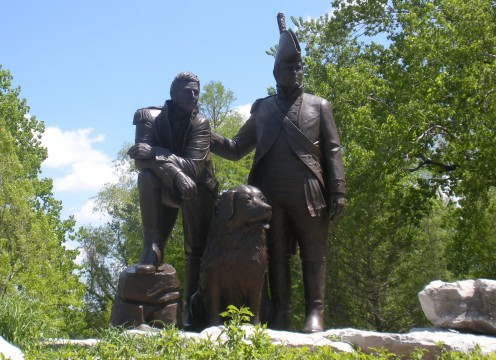 Lewis and Clark Sculpture, with Seaman, the dog.