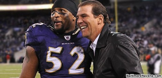 Ray Lewis is seen here with the owner of the Ravens, Steve Bisciotti.