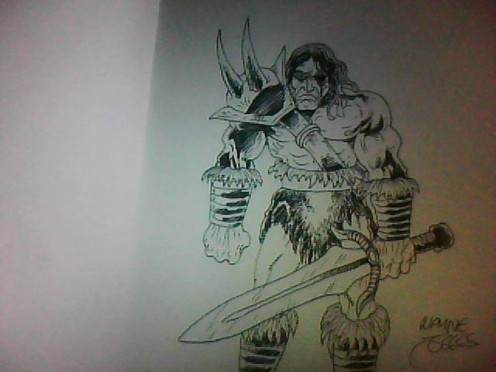Fantasy warrior concept drawing copyright Wayne Tully 2011.