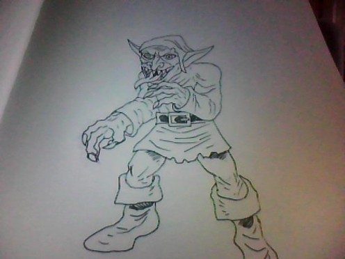 Goblin drawing tutorial,  art copyright Wayne Tully 2011.