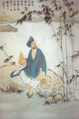 The Mad Buddhist Monk Ji Gong with a gourd of wine and a palm-leaf fan