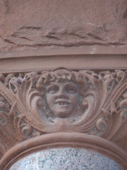 One of the many grotesque faces seen around the courthouse