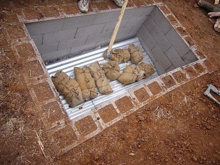 A Soak Pit under construction.