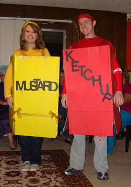 I GIVE YOU CREDIT. MUSTARD AND KETCHUP, IN YELLLOW AND RED, ARE NICE CHOICES, BUT WHY DIDN'T YOU PUT YOURSELF IN PLASTIC BOTTLES?