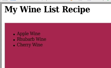Wine Recipe List