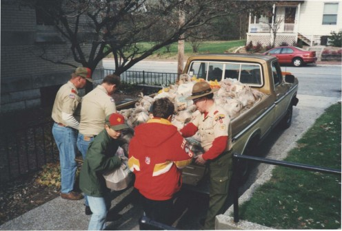 "Boy Scouts in Troop 7 unload donated food items during the annual ""Scouting for Food"""