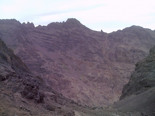 Looking up towards Toubkal summit