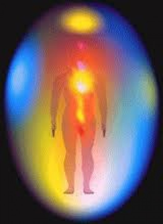 Whether this is an actual photo is not important.  It shows the egg shape of the aura which surrounds each one of us. This probably where the idea of 'halos' around saints depticted on stain-glass windows orginated.  Psychics could see them.
