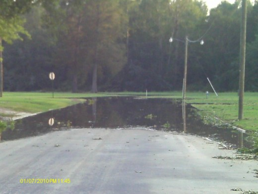 This road was typical after the storm subsided.  Many areas were flooded.