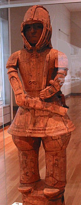 A Kofun-era Haniwa soldier on display at the Tokyo National Museum. This statue is a National Treasure of Japan.