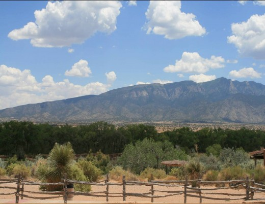 View of the Rio Grande and Sandia Mountains from the Pueblo where one of the first Conquistadors wintered.