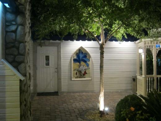 "Pretty side view of ""Graceland Chapel."""