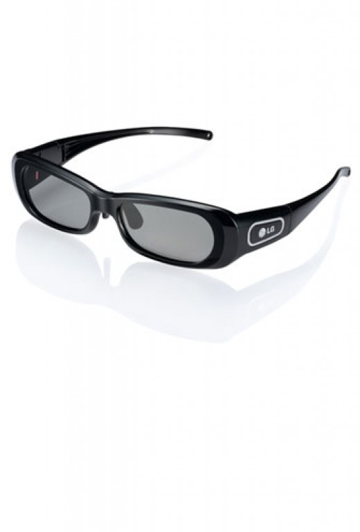 LG active glasses - heavy, bulky and rechargeable.  Will usually fit over prescription glasses.