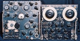 Here on the left we have an AT5-AR8 transceiver of around 50 watt power.   They were also carried in RAF bombers in WW2