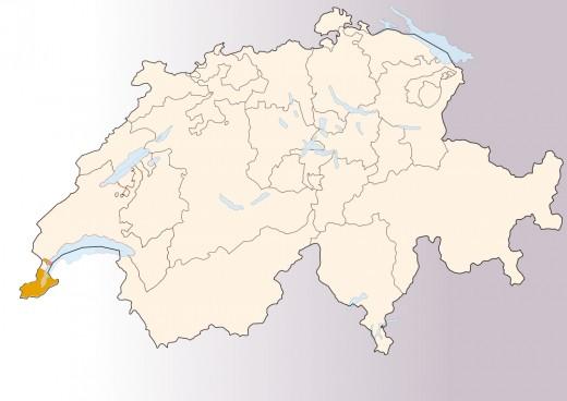 Map location of Geneva, Switzerland