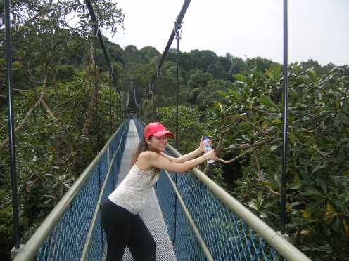 this was when I was 5 months preggers, trekking through the forest, at Macritchie Reservoir