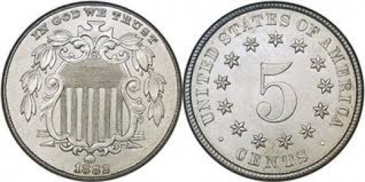 "This is the second type ""no rays"" produced for Shield Nickels from 1868-1883."
