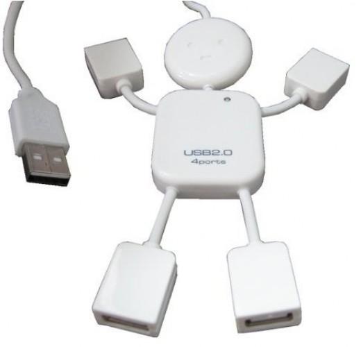 White mini man USB hub