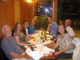 Gernot, Gisela, Christopher, Susie, Will  and Sylvia enjoy dinner in the company of John (second from left) in Burgundy, France.