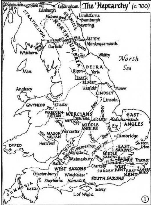 Each virtually with a language of its own,  kingdoms were divided by loyalties through local leaders only grudgingly acknowledging an over-king, East Anglia, Kent, Mercia, Northumbria and Wessex went their own ways, swallowing up rival minor kingdoms
