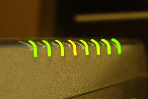 Row of green and yellow LED lights