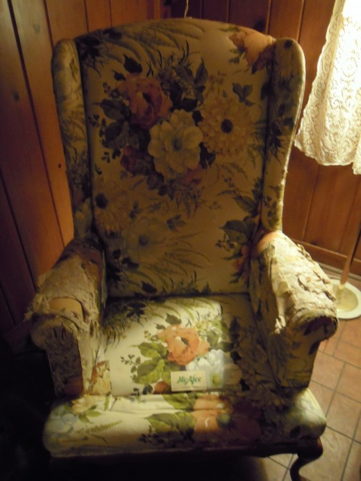 full shot of the chair before I reupholstered it