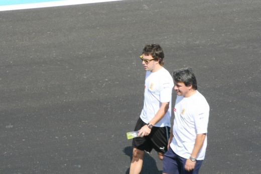 Fernando Alonso on his Track Walk