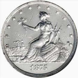 """This is the obverse side of the 1875 """"Liberty At The Seashore Coin""""."""