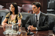 PADGETT BREWSTER (LEFT),  AGENT EMILY PRENTISS, AND THOMAS GIBSON, AARON HOTCHNER, CRIMINAL MINDS ON CBS.