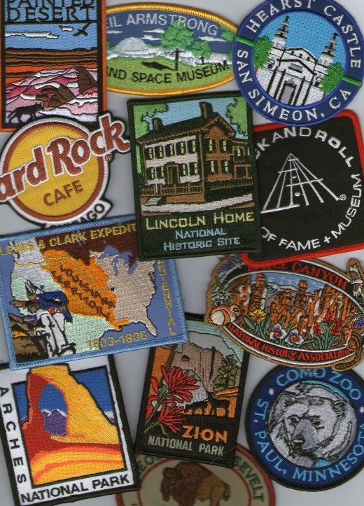 Patches from Hard Rock Cafe, Cleveland's Rock & Roll Hall of Fame, St. Paul's Como Zoo, Hearst Castle, Painted Desert and the Neil Armstrong Air & Space Museum.