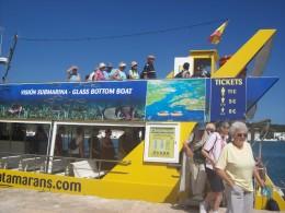 Leaving the Yellow Catamaran