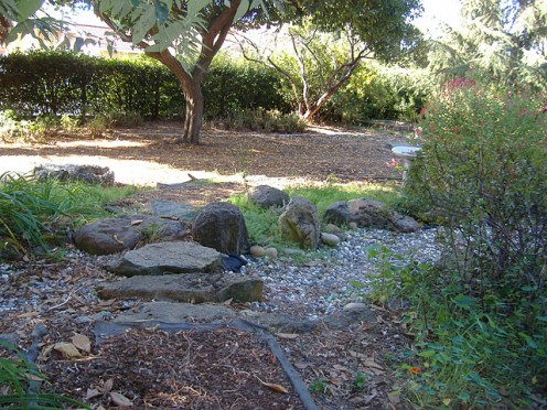 This dry creek bed has been a work in progress since last year. I don't think they plan to put water through here but it looks pretty as a dry creek bed!