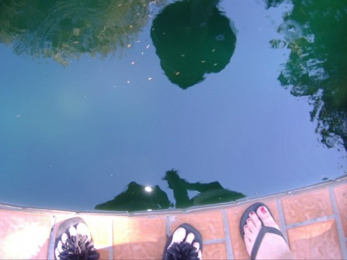 This was a fun shot that I didn't even realize I took until I looked in the camera viewer. I thought it was a cool photo of our reflection and our feet at the edge of the fountain!