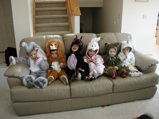 Children dressed in Halloween Costumes, reasy for trick-or-treating