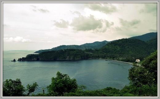 Hill, vegetations, and beach at Senggigi