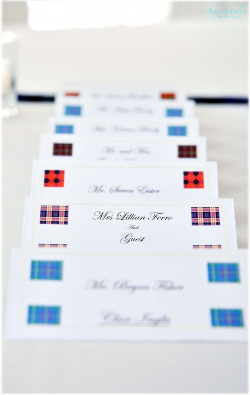 Place cards designed and printed out by my husband
