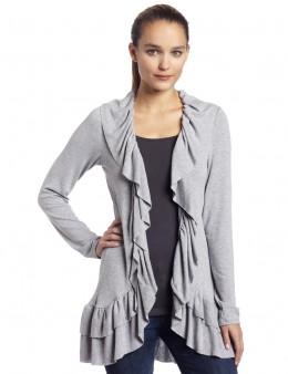 Asymetric cardigan with ruffles