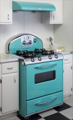 PRETTY COLOR FOR A STOVE THAT MANY HOUSE WIVES USED WHILE COOKING FOR THEIR FAMILIES IN THE 50'S.