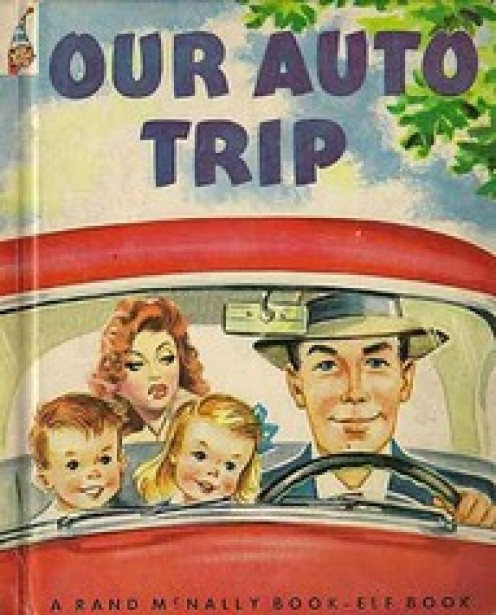 A TYPICAL 50'S FAMILY OUT ON THE ROAD FOR A SUNDAY DRIVE OR MAYBE A YEARLY VACATION.